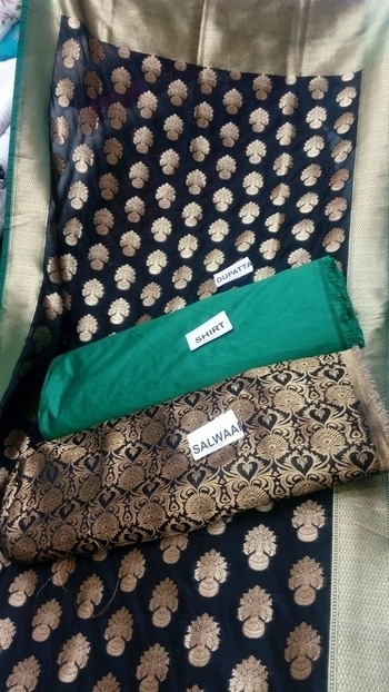 100% pure banarsi duppatta  Plain shirt in silk Heavy brocket bottom  2100/-including shipping