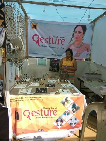 "Gesture Jewelry exhibiting at The Lil Flea, Mumbai. Great Experience ❤  Best-in-class Exclusive Earrings, designed by Indian trend setters to fit your budget. ""The future of high quality and affordable jewellery is here.""  Each beautiful piece is handmade, and studded with real 'semi-precious stones' using modern technology to lower costs.  Visit: www.gesturejewelry.com to experience our beautiful ""Party, Office and Everyday (POE)"" collections, with filters to match your occasion and budget. Online payment with Free Shipping across India, along with flexible ""7 days return policy"".  For enquires, you can call or whatsapp us on +91-9324287397. We will send you samples based on your taste.  Let's celebrate womanhood together! 💓  #gesture #jewelry #modern #handmade #jewellery #costume #budgetjewellery #fashion #love #beautiful #girl #beauty #pretty #styles #stylish #love #pretty #girl #girls #design #outfit #shopping #glam #shoppingexploring #womenstyle #present #accessories #shop #shopwithus #stylechallenge #urban #fashionable #trendy #trendsetters #popupshops #exhibitions #getyours #instyle #haute #different #stone #custommade #chic #diva #custom #fashionblogger #mompreneur #accessorize #daretobedifferent #accessory #fashionaddict #details #summer #summeroutfit #fashionista #outfitdetails #makeup #desi #desibride #indiatrend #indianbride #blogger #india #indianjewellery #bridal #wedding #photos #jewellery #model #portfolio #bridalinspiration #antiquejewelry #designer #earrings #designerwear #outfitoftheday #mumbai #casualvibes #fashiondiaries #women-fashion #indian #ropo-love #roposo #soroposo #roposolove"