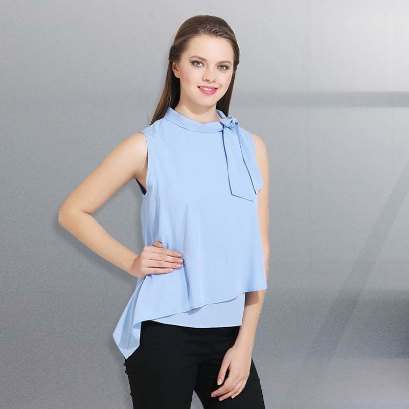 Blue Crepe top with tie-knot at left shoulder. #blue #bluetop #bluelove #sleeveless #trendycollection #trendingfashion #trendy #womensstyle #stylestatement #styleselfie #look #likeit #likeforlike #followme #missgudi