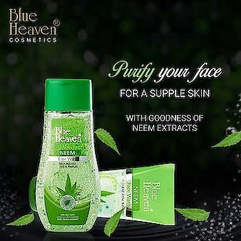 Now give your face, the Richness of Neem with deep cleaning properties.  Start your day with a wash so gentle and soft #Facewash #Neem #ClearFace #SkinCare #PersonalCare #BlueHeavenCosmetics #BlueHeaven