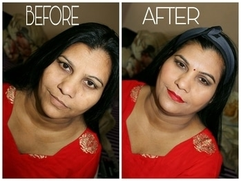 I DID MY MUM'S MAKEOVER FOR A WEDDING.   Details-  We colour corrected her face. The foundation and concealer game was at peek. Gold shimmery EYESHADOW with smoked out brownish EYESHADOW . Subtle highlight and BLUSH and a bold lip colour.  If I wanna get a MAKEOVER dm me or gmail me thevanitygirl15@gmail.com
