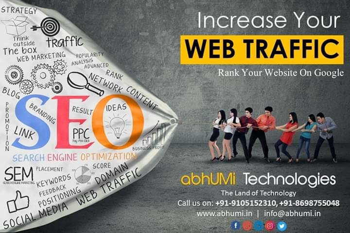 """""""Increase Your Web Traffic & Convert into business.""""  Start SEO for your website & generate the business leads.  Visit us for more information Call Now: +91-9105152310, +91-8698755048 Email: info@abhumi.in  #abhumi #seo #googlerank #website #traffic #moreleads #business #leads #convertleads #ranking #backlinks #seoservices #marketing #dehradun #india #indiancompany #technologies #abhumitech #abhumiT #IT #Solutions #services #bestservice #secure #increaseweb"""