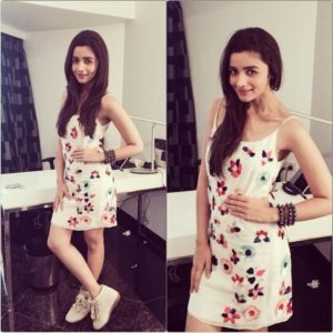 Alia Bhatt in white floral dress.