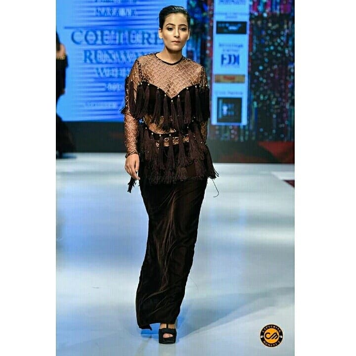 my dress on ramp .. designed by me .. #couture #runway #week