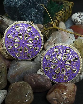 Beautiful Meenkari Lavender Colour Studs Order Now #8779035614 What's App