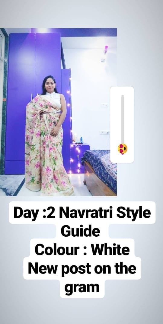 Nine Days of Navratri Style Guide with Colors of Goddess Durga. . Day 2: WHITE . White represents Peace and Purity. Hindu Goddess Brahmacharini is worshipped this day. . Style file: Giving a twist to the All white essemble, I styled White Formal top with Floral print white saree. To add a little style and to make it more comfy to handle I added a silver belt & kept the palla pleated a little near arm. . Styling @twinklewithmystyle Saree @Moms Wardrobe formal Top @hm Belt @lifestylestores . #howtodrapeasaree #sareeaddict #floralsaree #chiffonsaree #fabric #festivalfashion #festiveseason #sareeinspiration #sareesofindia #sareesofinstagram #hm #lifestyleblogger #lifestyles #navratrispecial #indianblogger #bloggersofinstagram #navratrispecial #drape #sareelovers #sareedraping #sareeblousedesigns #ootd #bling #mood #positivevibes #instagood #twinklewithmystyle