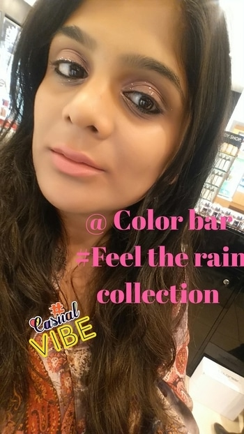 Just loved the new limited range @ color bar ... it's just amazing and I can't resist to put my hands on the all new #eyeshades #lipstickshades #glitter  Have a look on the makeup using new limited #colorbar #feeltherain edition  #casualvibe