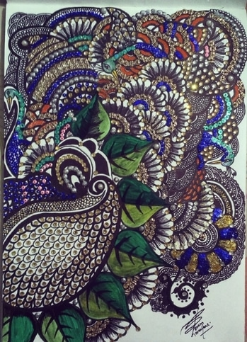 CreativeMe#CreativeWork#Designer's mind#Beautifully embellished#Bea ds#Sequences#inspired by peacock#paisley#floral...