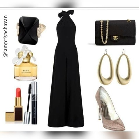 This 👸#gorgeous #black 💜#fashionable #dress 👗#clothing 🎊#party #wear 🎊give a #magical 💖#look with #beautiful #blackgold #clutch 👛#lovely #golden #earrings 💎#pink  #stylish #heels 👠#classy #black #ring 💍#cute #fragranced #perfume 💐#perfect #red #lipstick 💄and #mascara 👀 #fashionandtread