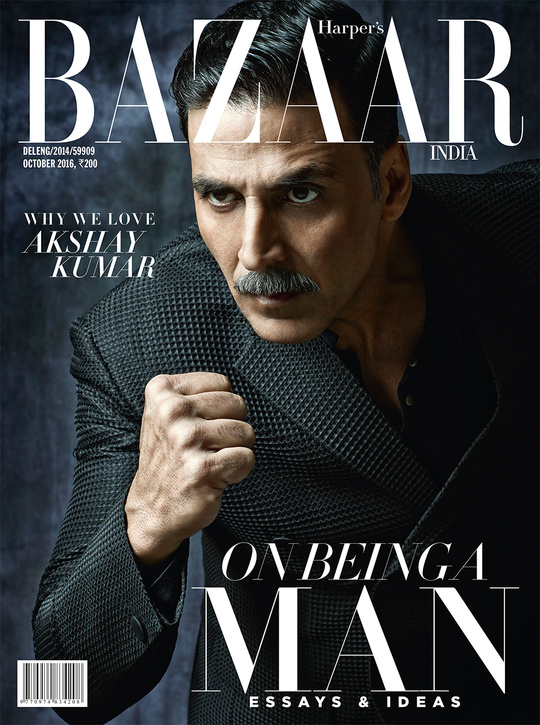 Akshay Kumar graces the October cover of Harper's BAZAAR India  For the first time in its seven-year history, Harper's Bazaar India is a men's-only edition, featuring#Bollywood star #AkshayKumaron the cover. He talks to #Bazaar about how fitness is a way of life and why he's proud of not having an eight-back. He stresses on the importance of having a routine, of ensuring he always has magical moments with his family, of his roots as a stuntsman, and of how his destiny depends on how he treats the world.