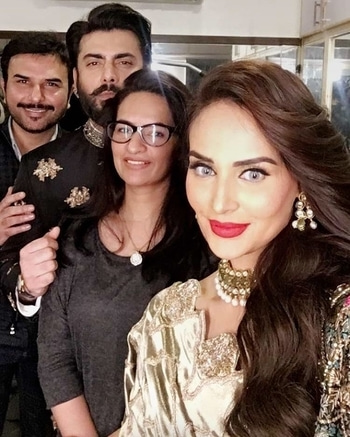 Look who we spotted! #ShahzadRaza of #AtherShahzad with #FawadKhan, his wife, #SadafFawad and supermodel, #MehreenSyed shooting for a bridal campaign! Can barely wait for this one! 😍🔥😁
