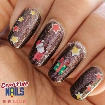 Santa Gift Box Nail Art! https://creativenails.in/2017/12/19/santa-gift-box-nail-art/ #creativenails_d #creativenails_beautyprooducts #ropo-love #santalove #santaclause #christmasnailart #christmasgift