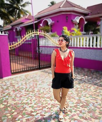 Goan Streets! #travel-diaries #goadiaries #fashionstylist #goatrip #coral crush #bodysuit