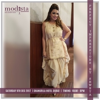 Shweta Singh's collection comprises of Comfort Indo Western that has Pure fabric tunics, Boho Shirts with Palazzos, One piece dresses, easy silhouettes with modern cuts  and more.    Pick up your favourite piece at Modista on 9th Dec at The ShangriLa Hotel Dubai from 10am-8pm !!  #modista #fashionexhibition #shopnow #shopthislook #exhibition #mydubai #onedayonly