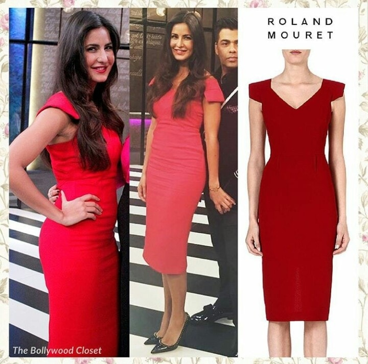Katrina kaif looked beautiful in an elegant red solid midi dress by Roland mouret for koffee with karan show. #celebrityfashion #katrinakaif #koffeewithkaran #season5  #bollywoodstyle