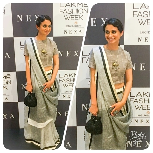At @lakmefashionwk  for a beautifully elegant show of Anavila s latest collection   #Anavila #lfw17 #sarilove #sustainablefashion #stregismumbai #elevatepromotions #aboutlastnight