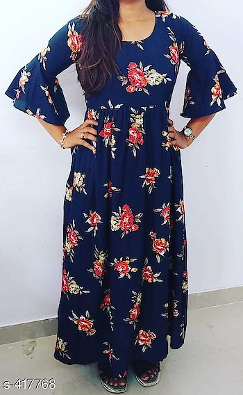 only -700 order for whstsapp no -8360028409 Shama Printed American Crepe Long Maxi Dresses  Fabric: American Crepe Sleeves: 3/4 Sleeves Are Included Bust Size: S - 34 in, M - 36 in, L - 38 in, XL - 40 in, XXL - 42 in Length: Up To 48 in To 50 in Type: Stitched Description: It Has 1 Piece Of Dress  Pattern: Printed Dispatch: 2 - 3 Days