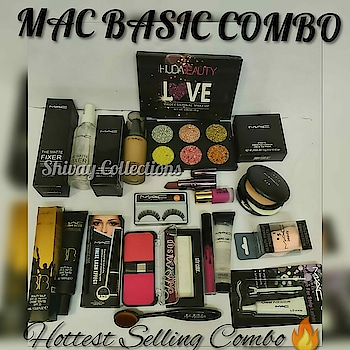 _MAC BASIC COMBO_    ```🔥HUDA GLITTER EYESHADOW 🔥MAC FIXER 🔥MAC FOUNDATION 🔥MAC COMPACT 🔥MAC EYELASH 🔥MAC LIPSTICK 🔥MAC LIPGLOSS 🔥MAC PRIMER 🔥MAC BB CREAM 🔥MAC LINER 🔥MAC MASCARA 🔥MAC EYEBROW PENCIL 🔥MAC GLUE 🔥MAC BLENDER 🔥NAILPAINT    🔥🔥FOUNDATION BRUSH FREE🔥🔥```   🔥 *_Hottest Selling Combo_* 🔥  Just rs 1250/- + ship/-🔥🔥🔥 LW