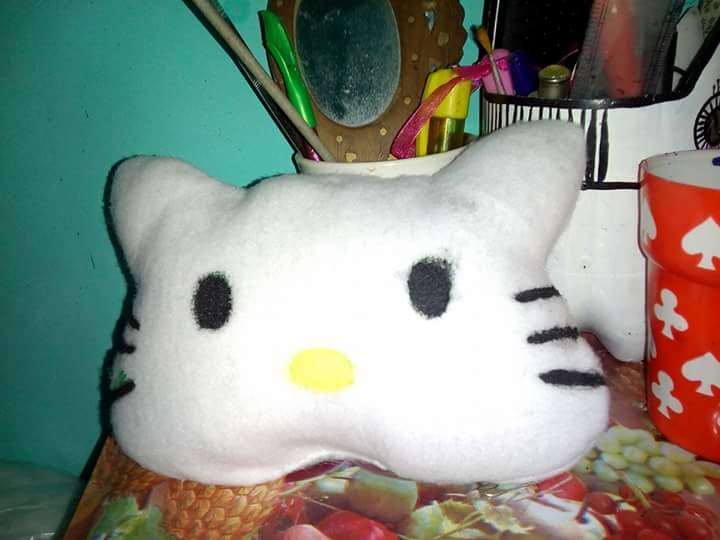 this cute little Hello Kitty pillow made by me  #hellowkitty ##pillows #creative #craft #crafting #creativespace #about creativity #art #diy #diyproject