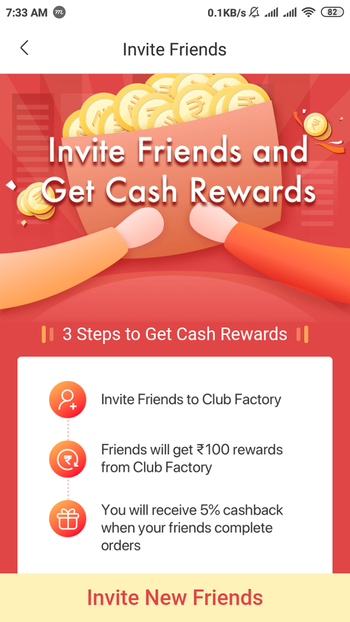 Visit Play store and download Club factory , use this Referral Code : 65f030716   Earn ₹100 cash and Shop anything You like for ₹1  Free Shipping free Delivery