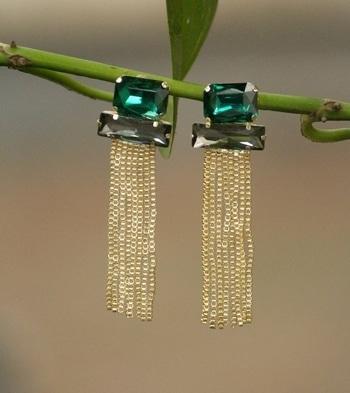 #indian#jwellary#earrrings#black#bluishgreen#stonestudded#indo#western#tasselearrings