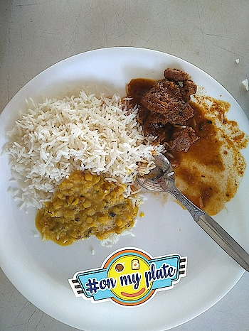 #today #paetpuja #rice #daal_fry #mutton #travels #travels_food #food_porn #lunch #lunch date 💕 #lunchtime #like_food #yummy #food  #today's #onmyplate