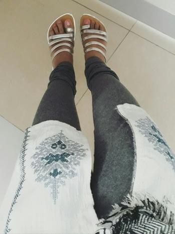 Do u believe if i say dis footwear costs only 100 Rs... for this office look : 1. MotherEarth kurti 2. Grey leggings 3. Matching footwear 4. Fabric shawl  wow...feeling grt..😉😉 white kurti with silver footwear ... #roadside #streetshopping #mysoreblogger #motherearth kurti #jutekurti #footwearlove #classy #elegantstyle #simple ## smart officelook #officewear