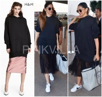 Yay or Nay : Deepika Padukone in H&MShe had a fantastic day in the fashion department today. While at the airport, she worked an oversized hoodie that she paired with tulle skirt (both) from H&M. Centre parted sleek ponytail, Nike sneakers and a Chanel tote added finishing touches to her look.
