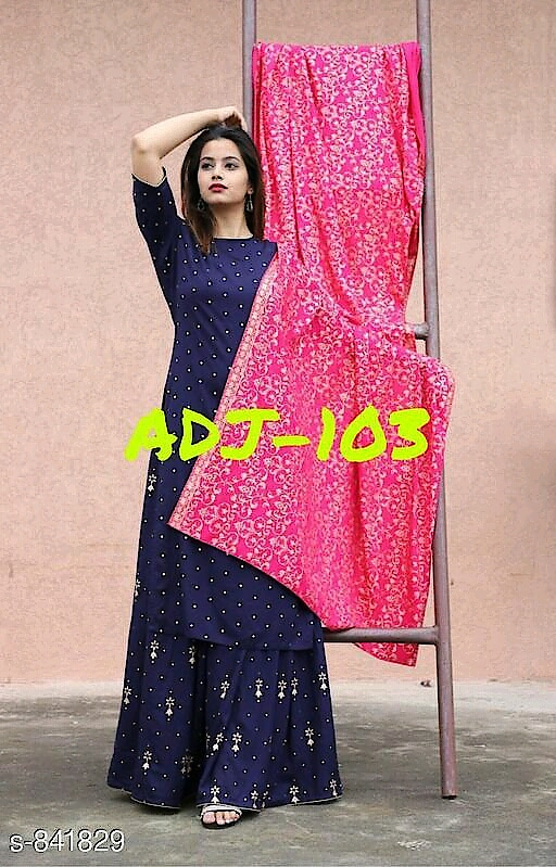 Ravishing Women's Kurti Fabric: Kurti - Rayon, Palazzo - Rayon, Dupatta- Cotton Sleeves: 3/4 Sleeves Are Included Size: Kurti - M- 38 in, L - 40 in, XL - 42 in, 2XL - 44 in, 3XL - 46 in , Palazzo - M - 30 in, L - 32 in, Xl - 34 in, 2XL - 36 in, 3XL - 38 in, Dupatta - 2.5 cm Type: Stitched Length: Kurti Up to 46 in, Palazzo - Up to 38 i Description: It Has 1 Piece Of Kurti With 1 Piece Of Palazzo and 1 Piece Of Dupatta Work: Kurti - Printed, Palazzo - Printed , Dupatta - Printed #kurtipalazzoset #kurtipalazzo #rayonkurti #cottondupatta #stiched #shopwithus #buyitnow #thebazaar #cashondelivery #followusonroposo