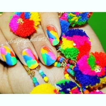 #Repost @drikpriya.nailarts with @repostapp ・・・ Multicolored Abstract Nailart design(Matte) 😍🤣 Matching my nails with my Pom Pom accessories😁💞 I am obsessed with pom poms now a days. So much in love with the pom pom earrings , bracelets etc etc .  This is the easiest nailart design ever  you can achieve without using any tool  or brushes . You need just few of your favorite nail polishes and there is no perfection required .  #pompom #pompomaccessories #pompomnails #multicolorednails  #nailsoftheday #mattenails #nailart #nailartclub #nailartdesign #nailartwow #nailartaddict #nailartist #nailartdesign #lovefornailarts #instanailart #instanailstyle #instanails #nailartblogger #easynailart #nailartlove #nails #nailarts #nailpolish #nailartworld #glossynails #shinynails #abstractnails