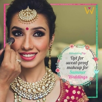 Summer is full of pleasures, but melting makeup, sliding eyeliner, and sticky lipstick are not among them.   Being a bride you got to keep it sweat proof!   Opt for waterproof and sweat free makeup!  For more tips and wedding outfits and accessories follow WedLista.com!  #WedLista #FashionForWeddings #SummerTip
