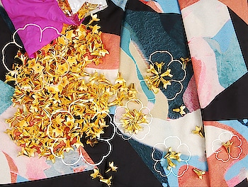 The signature 3D gold flowers created for #Fragments #springsummer18  These flowers personify the beauty of life and brightness in dark broken times.. Looking forward to sharing some interesting embellishments using it @labelnityabajaj  #Staytuned for #Fragments arriving soon at #NITYABAJAJ #labelnityabajaj  #gold #flowers #embroiderymaterial #rawmaterial #ss18 #graphic #abstract #floral #material #embroidery