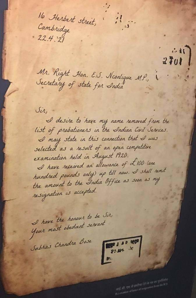 Resignation letter of Netaji from ICS. What a personality. He returns his salary. Look at the hand writing. We are   proud to have such leaders in the past.
