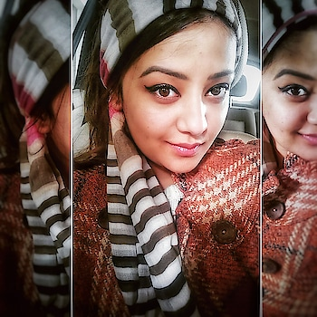 Channeling the #retro #wintermornings #vibe !  Aren't there days you just don't want to wake up but you have to roll? Here's a quick tip to look effortlessly stylish in a #diyheadscarf  STEPS :  Fold your stole until it is perfect width for your face.  Ascertain the best design to come over the head to give maximum attention at the crown or jawline according to your face shape.  Now,tie at the nape of your neck to use as a head scarf to combat cold and look retro chic all at once!  #scarf #stole #hairaccessories s #diy #bareskin #wingedliner #headscarf #styletips #bloggersdelhi #fashion #fashionblogger #suitupindia #beautygram #followme #likeforlike #naturaleyes #browneyes #roposolove #fashionquotient #trending