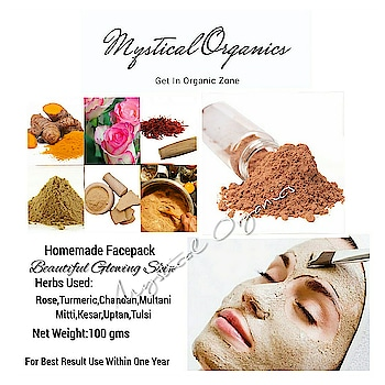 #HOMEMADE #FACEPACK #FORBEAUTIFUL #FLAWLESSSKIN  My skin secret 😃 why i love this facepack, my great grandmothers homemade facepack.  WORRIED WITH PIMPLES? APPLY THIS WORLD'S BEST FACEPACK  FOR BEAUTIFUL GLOWING SKIN MADE WITH SPECIALLY SELECTED HERBS LOVELY AROMATIC FRAGRANCES.  This preparation contains vitamin E form wheat germ, this beautiful combination will make your face beautiful, glowing, smooth it will also remove pimples form your face and bring confidence.  Use this herbal facepack two times a week for best result.  Herbs used  Rose, chandan, multani mitti,uptan, turmeric, tulsi, tamarind, kesar.  Net Weight : 100gms Price : Rs 150/- Shipping Extra as per weight Worldwide Shipping Available   No Animal Ingredient/ No Animal Testing,   suitable for all types of  skin,  Completely handmade, Eco Friendly Packing, Suitable for Men and Women. free of harsh and synthetic chemicals. No Synthetic Colours or Fragrances.   NO COD DELIVERY UPON PAYMENT CONFIRMATION 3-5 WORKING DAYS PAYMENT MODE- ONLINE BANK TRANSFER, BHIM,.  https://chat.whatsapp.com/KeEsEe9up3h9u97nai5NbV  http://m.me/mysticalorganics  https://www.facebook.com/mysticalorganics/  Order now! #Herbal #Organic #SkinCare #Beautifulskin