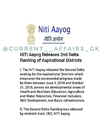 NITI AAYOG RELEASES 2ND DELTA RANKING OF ASPIRATIONAL DISTRICT...... FOLLOW 👉  @current__affairs_gk . . Best daily Current affairs and tricks and for more daily updates . 💝........ #currentaffairs2018 #currentaffairsquiz #current #currentaffairs #gk#daliy#dailycurrentaffairs #gktricks#tricks#gknotes#dailygk#gkquestions #NEWS #ssc#popular #cgl#progress #upsc#festival#afcat#railway#ias#comment#NITI#bankpo#studygram#bank#news#exams#studygram