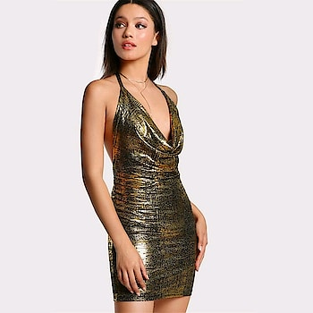 Fresh New Arrivals added to our uber cool collection! Buy this Backless Drape Neck Halter Tie Metallic Dress at just ₹1103/- . | Cash on Delivery with Easy Returns & Exchanges || Up-to 100%* Money Back Guarantee! | Satisfaction Guaranteed | .  #style #party #tops #blouses #trendy #ootd #jumpsuit #womensfashion #girls #photooftheday #poshgrid #women #topshop #newarrival #vogue #dress #romper #fashion #trending #partywear #dress #sexy #partydress