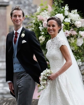 Pippa Middleton married James Matthews at St. Marks church in Englefield this morning. The bride looked stunning in a custom lace dress by British designer Giles Deacon.  #Celebrity #CelebrityWeddings #Weddings #England  #wedding