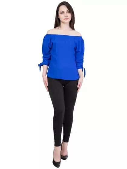 Hive91 Blue Off Shoulder Tops For Women Polyester Fabric And 3/4 Sleeve - -#womensfashion, #womensonlineshopping, #women-fashion, #women-branded-shopping, #women-style, #womensfashionreview, #women, #stylishlook, #stylewear, #shoelove, #womenstyle, #womenapparel, #womenonroposo, #womendress, #women-clothing, #womansclothingonline, #fashion, #Dress,