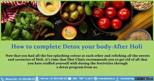 Dietician Sheela Seharawat ✅How to complete #Detox your body After #Holi Now that you had all the fun splashing colour at each other and relishing all the sweets and savouries of Holi, it's time that #DietClinic recommends you to get rid of all that you have stuffed yourself with during the festivities through a detox program from us. We understand that it is not only the internal systems that have been overloaded but the harsh #colours and chemicals in them have impounded its effects on your skin as well. ✅We strongly recommend to keep yourself hydrated with a maximum intake of #water. #Drink at least 3 to 4 litres of water a day to help the skin and the body flush out the harmful #toxins and chemicals been accumulated. Since consumption of lots of sweet during Holi is common, ensure having plenty of salads that will aid in the detoxification of the body. ✍️ #DietClinic brings you personalized #diet #plans, #recipes, tools and more for a #healthy #lifestyle and losing #weight. ☎️Please #Call at 88-2626-0707 📞Toll-Free: 8010-888-222 🌍Website- http://www.onlinediets.in ➡️Download App: http://app.clinic.diet ✍️Book Your #Appointment: https://goo.gl/jmwWGu