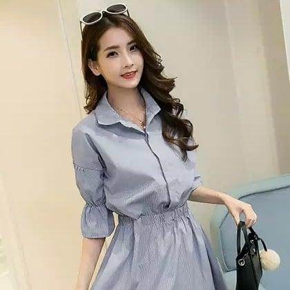 Striped Shirt Dress--#womensfashion, #womensonlineshopping, #women-fashion, #women-branded-shopping, #women-style, #womensfashionreview, #women, #stylishlook, #stylewear, #shoelove, #womenstyle, #womenapparel, #womenonroposo, #womendress, #women-clothing, #womansclothingonline, #fashion, #Dress,