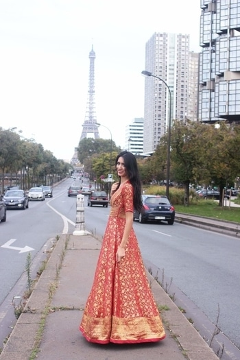 As everyone is travelling, we remember our very first showcase at the iconic Eiffel Tower, Paris 2016 Our #brocades from the #fleurcollection stopped everyone at the streets of Paris and brought color to the #parisian fall #throwback to #nityabajaj #traveldiaries #NBinParis #fashionpreview at the #Eiffeltower #labelnityabajaj #nityabajaj #fleur  When Paris is your backdrop 😍 #fleurinparis