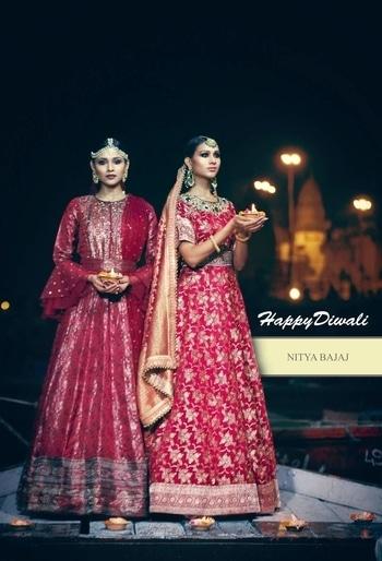 #TeamNityaBajaj wishes everyone a very #HappyDiwali Celebrating our rich Indian textiles as we revamp luxurious brocades... #sustainablefashion #indiantextiles #ministryoftextiles  Location: Varanasi river ghats Outfit: Nitya Bajaj @labelnityabajaj Photography: Rajvir Saini @rajvirsainiphotography styling: Paras Kavya Bhatia @paraskavya_official  #fashion #labelnityabajaj #nityabajaj #brocades #red #maroon #varanasi #incredibeindia