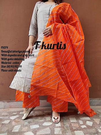 Now 38 only *F1074*  _*Beautiful leheriya plazo With dupatta and grey kurti With gotta detailing _*  Material- cotton *Size-38* Plazo with elastic  Original Price-₹1299 free ship  Sale price-₹1150 free ship  Ready to despatch 💕    *F1076*  _*Beautiful leheriya plazo With dupatta and grey kurti With gotta detailing _*  Material- cotton *Size-38/40/44/46* Plazo with elastic  Original Price-₹1299 free ship  Sale price-₹1150 free ship  Ready to despatch 💕    *F1404*  _*Beautiful festive look Stylish short kurti And dhotti dress With shiffon dupatta_*  Material-chanderi kurti With cotton lining ,Dhotti in Rayon  *Size-42/44* Price-₹1299 free ship  Ready to despatch 💕    *F1365*  _*Smart look three peice dress Of pant crop and shrug Shrug with pockets_*   Material-cotton slub Size-38/40/42/44 Pants with elastic  Price-₹1250 free ship  Ready to despatch 💕   Direct Message us or whatsapp on 9867764381   Follow us 👉🏻on FB:  *https://www.facebook.com/Stylista-Fashionss-2137660539847810/*  #stylistafashionss #style #fashion #trend #readysuit #dressmaterial #ethnic #western #fashionjewellery  #handbags #kurti #botttomwear #onestop #shopping #saree #readymadeblouse #lookstylish #bethefashion #shopstylistafashionss #onlineshopping #bestquality #bestprice #bestbuy #swag