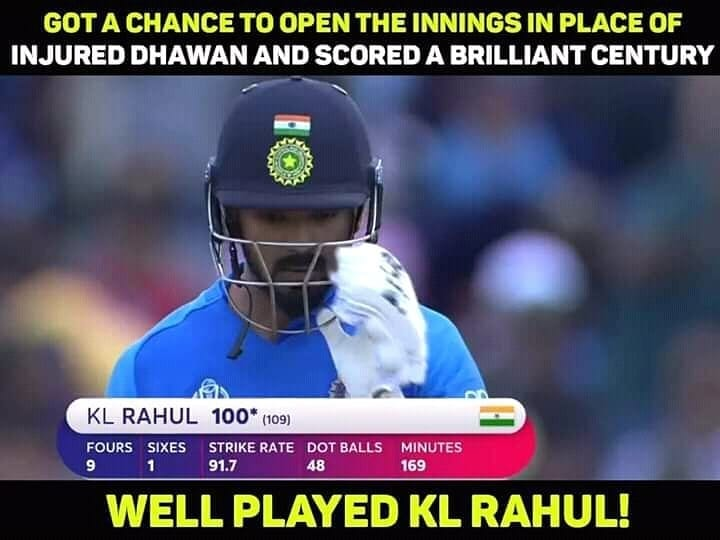 100 for KL Rahul! His first in World Cup. #klrahul #klrahul_fanclub❤️❤️ #rahul #klrahulfans #klrahulera #rahulfans #indvpak #indvspak #indiavspakistan #Iccworldcup2019 #CWC19 #Worldcricket #Worldcup2019 #cricketworldcup19 #cricketworldcup #Cricket #Cricketfan #Cricketlove #CricketLovers #ilovecricket #ilovemycricket #respectinsport #bleedcricket #bleedblue #msdians #runmachine #rohitsharma45 #Sreeharshacricket