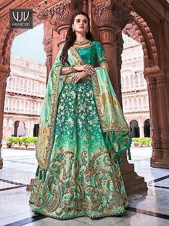 Buy Now @ https://bit.ly/2OYcp91  Amazing Turquoise Color Silk Designer Lehenga Choli    Fabric - Banarashi, Silk  Product No 👉 VJV-TATH2710  @ www.vjvfashions.com