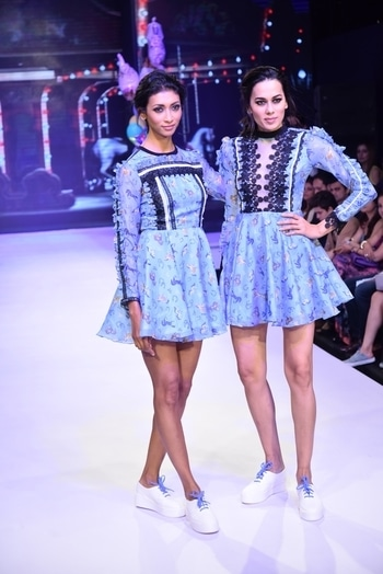 Our bestsellers from #equine on supermodels @lakshmirana @sonalikasahay are now #SOLDOUT Thankyou everyone for loving #Equine We love it too... #NITYABAJAJ @labelnityabajaj at #DTPCJISW17 #indiashowcaseweek17 @indiashowcasewk_2017 by @talentfactory_official directed by @rashmivirmani  #EquineCollection #LabelNityaBajaj #nityabajaj #equine #blue #sneakers #ramp