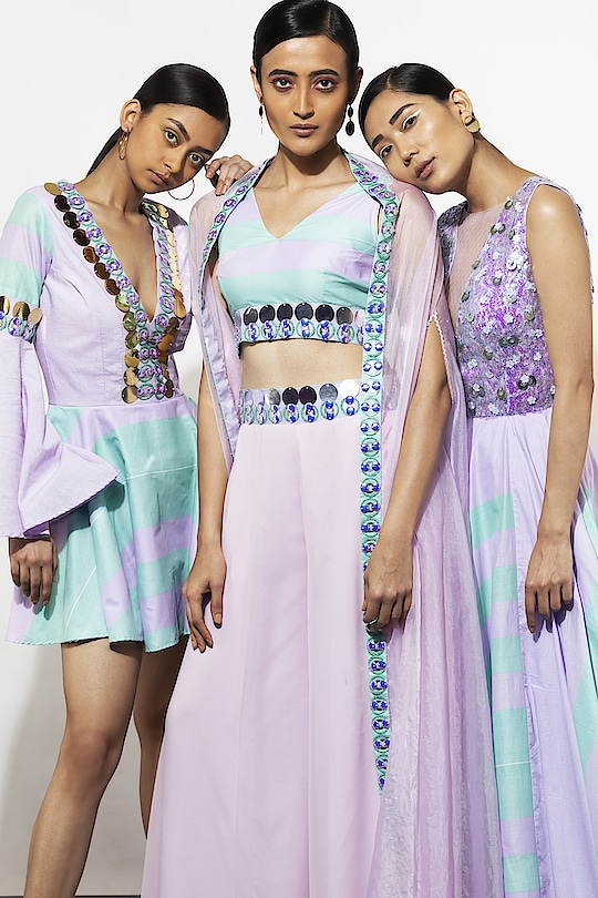 Every summer we bring our luxury Pret...this season our designer brings her exploration of Polka Dots and stripes with her statement embellished detailing and a burst of colour!! Spot arrives in it's happy vibrancy!! #spotbynityabajaj #spotsr19 #labelnityabajaj #NityaBajaj #lilac #lavender #aqua #aquamarine #summerresort19  #instafashion #fashion #newcollection #springsummer  Our campaign girls @apeksha_verma19 @runwaylifestyl  @tamang.girl @anurima_as @ninjasmodelmanagement  HMU @divarose21 @ameemakeupartis @satya_p_verma  Photography & edits @prashhant_awasthi  Assistance @vaanisethi31  Accessories @aaree_accessories www.nityabajaj.com