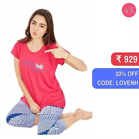 Well, the temperature is rising and so are your needs to be in comfortable outfits. Isn't it? Shop these Capri Pants to avail 10% OFF using the code LOVENH. Time to have a comfortable summer time.  Shop here: https://goo.gl/FnzDjA . . .  #SummerCollection #WomenNightwear #womenclothing #women #nighty #pajamaset #Pajamas #Nightyhouse #capris #offers #discount #deals #loveseason