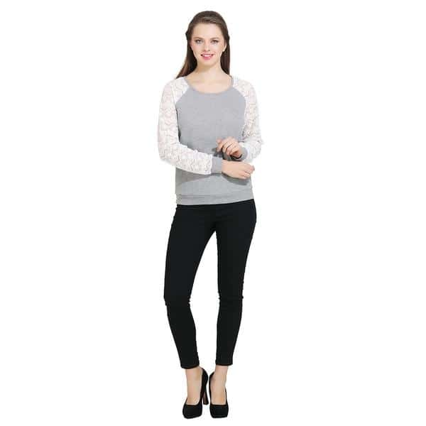 Grey top with schiffli lace at shoulders and sleeves. #grey #greytop #greylove #schiffli #lace #lacetop #womentops #women-fashion #shoponlineforwomen #womenapparel #womencollection #bestoftheday #picofday #look #staystylish #loveyourself #followme #trend2017 #missgudi